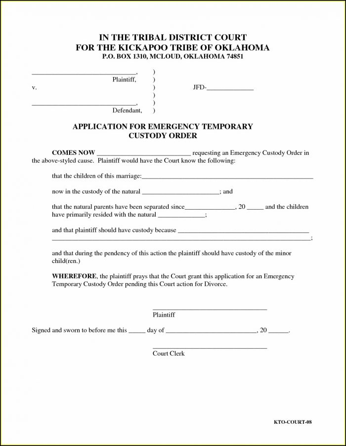 Temporary Child Custody Forms Ohio