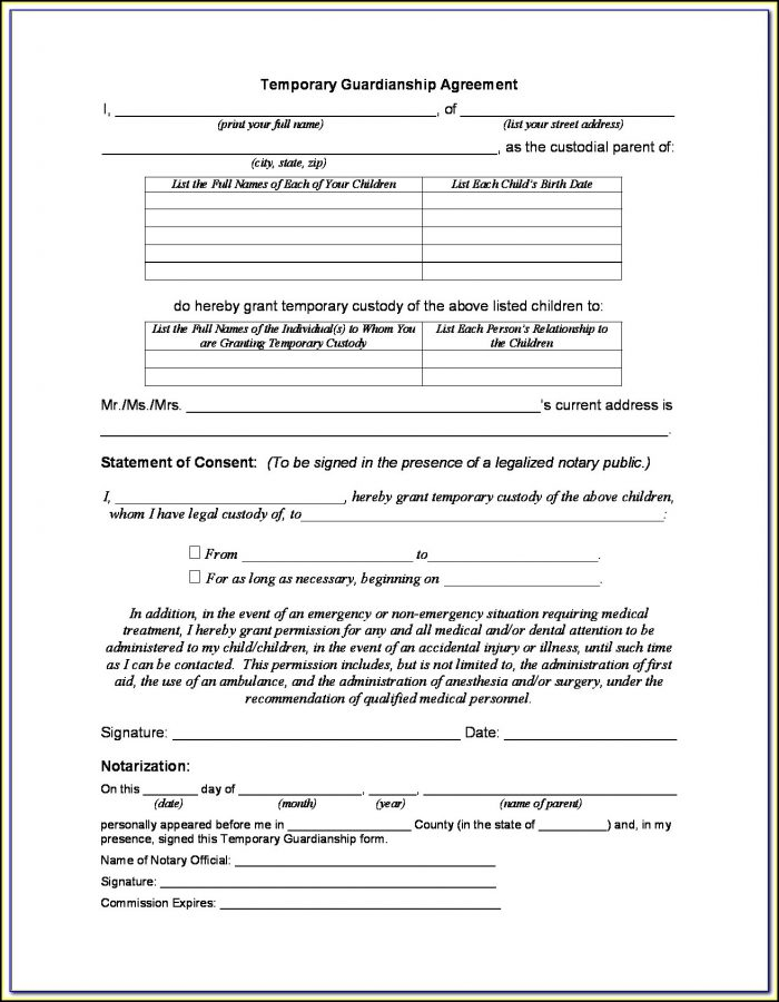 Temporary Child Custody Forms Tennessee