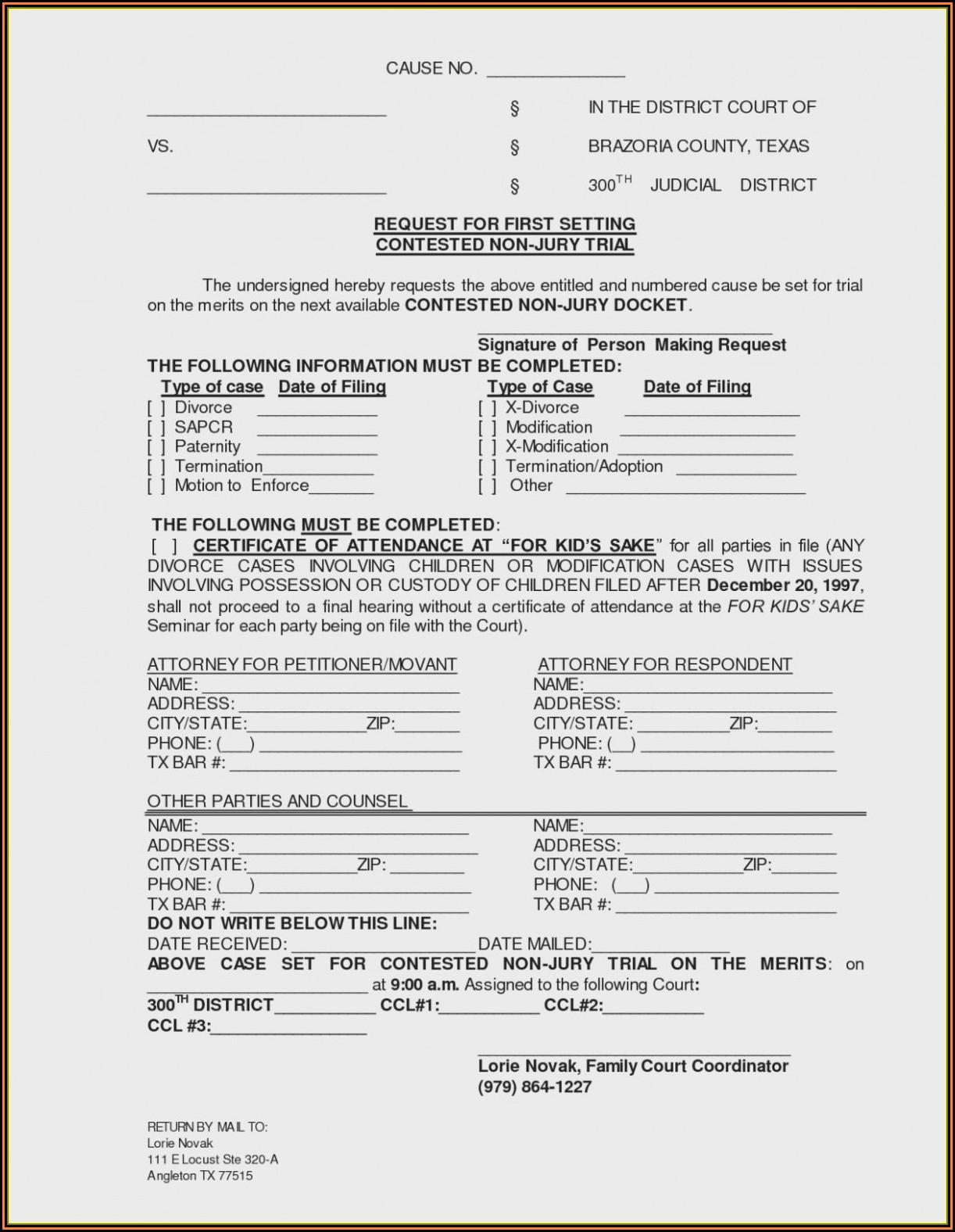 Texas Divorce Decree Template Free