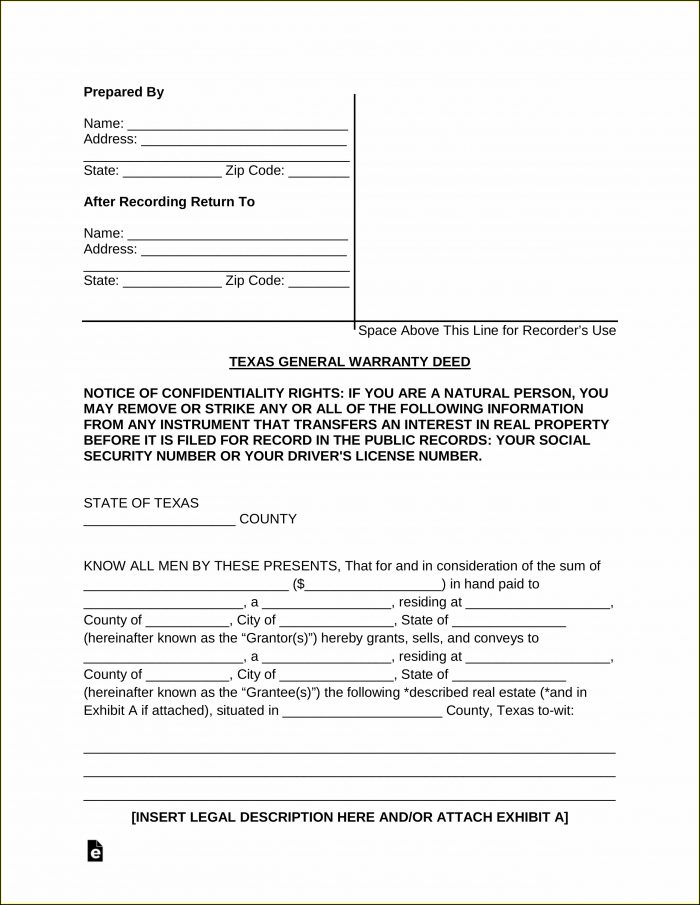 Texas General Warranty Deed Form Free