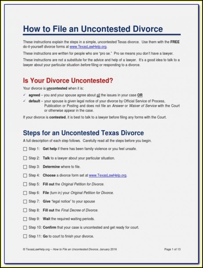 Texaslawhelp.org Divorce Forms
