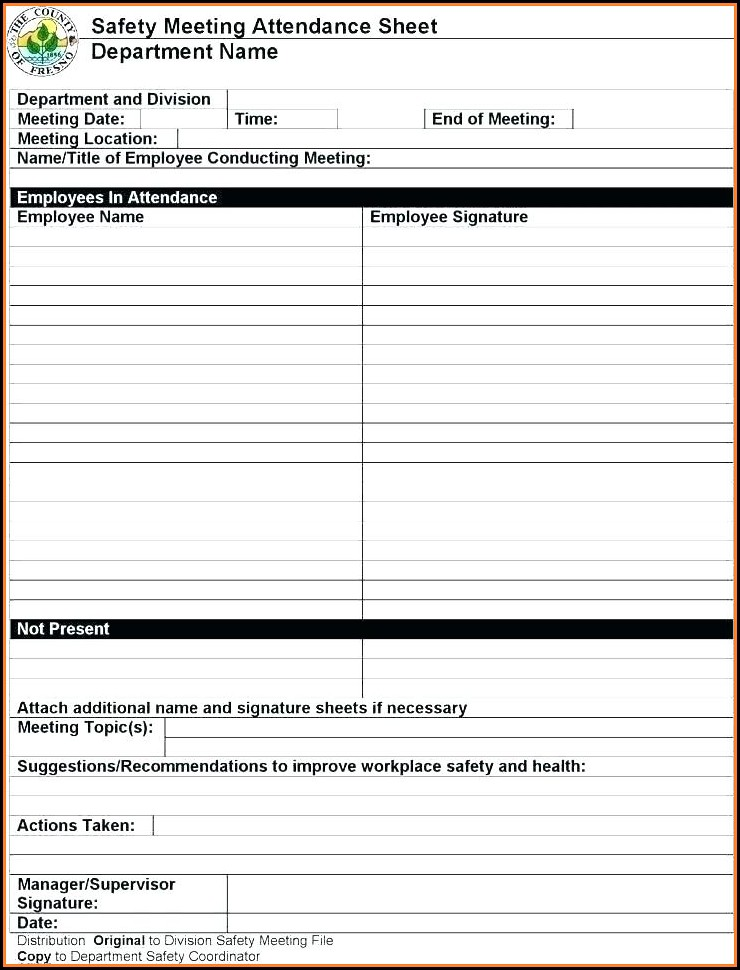 Toolbox Safety Meeting Template