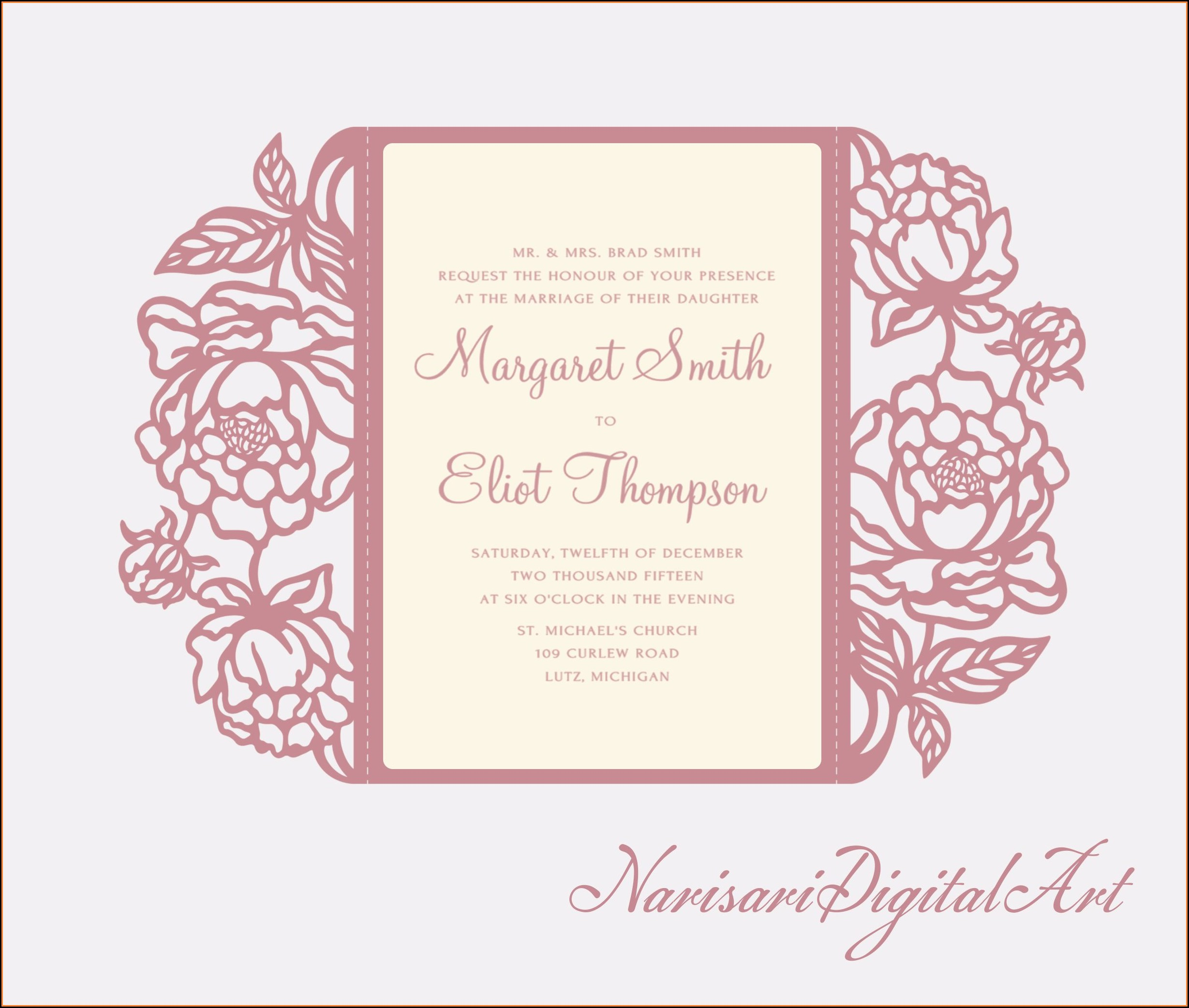 Tri Fold Wedding Invitations With Pocket Template