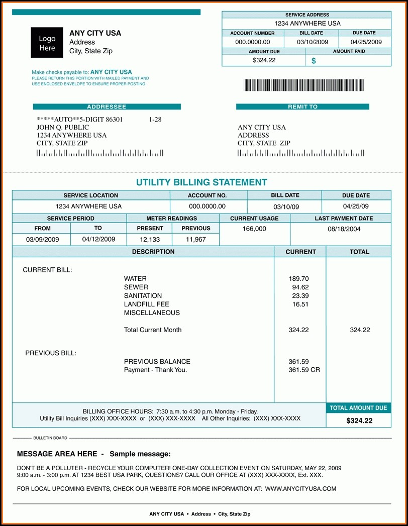 Utility Bill Template Free Download