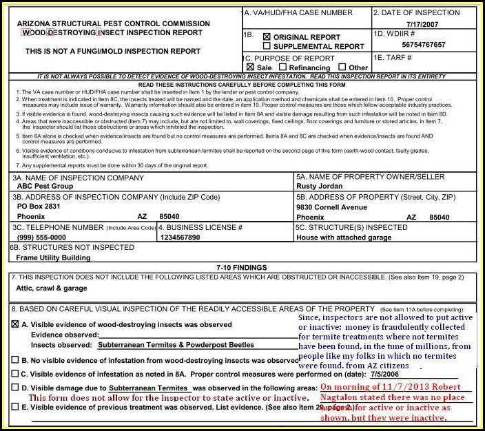 Va Loan Pest Inspection Form