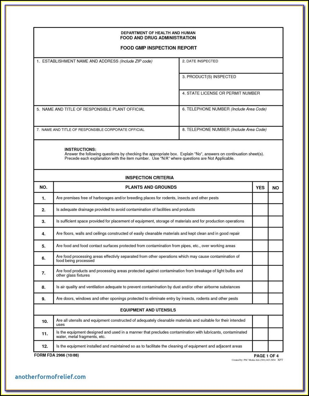 Va Pest Inspection Form Npma 33