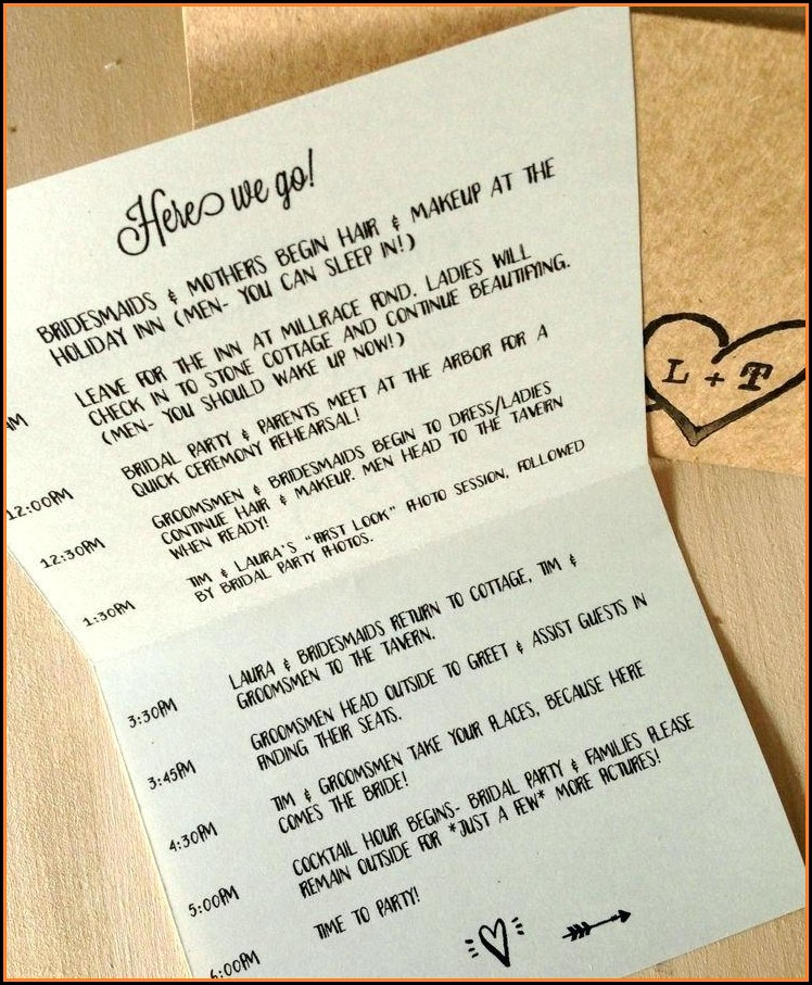 Wedding Day Schedule Template For Bridal Party