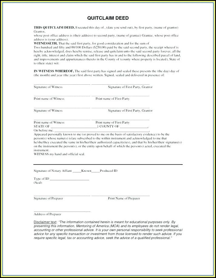 Where Can I Get A Blank Quit Claim Deed Form