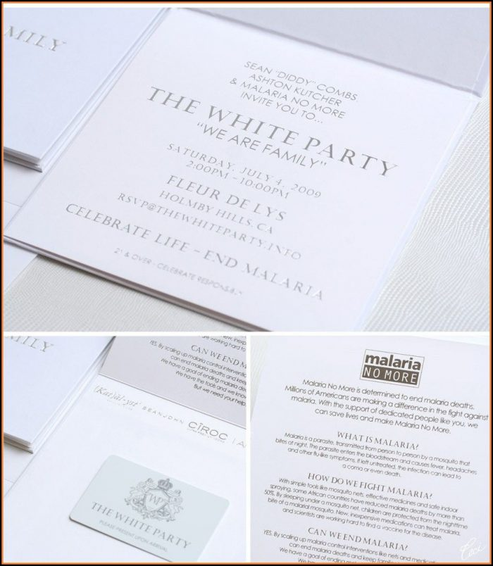 White Party Invitation Cards