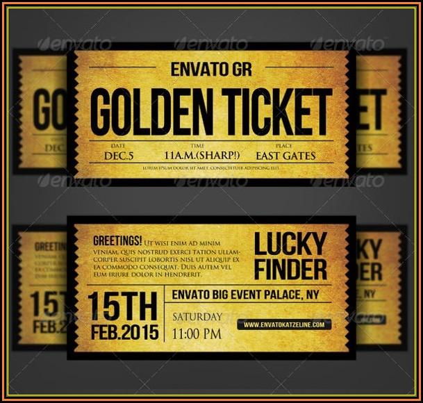 Willy Wonka Golden Ticket Invitation Template Free