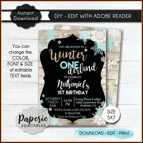 Winter Wonderland Birthday Party Invitation Template