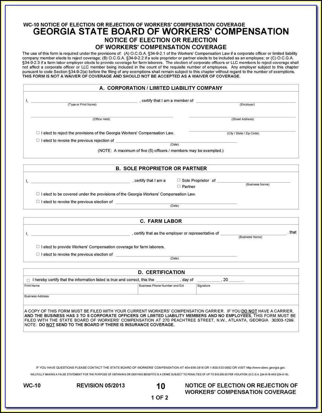 Workmans Comp Waiver Form Arkansas