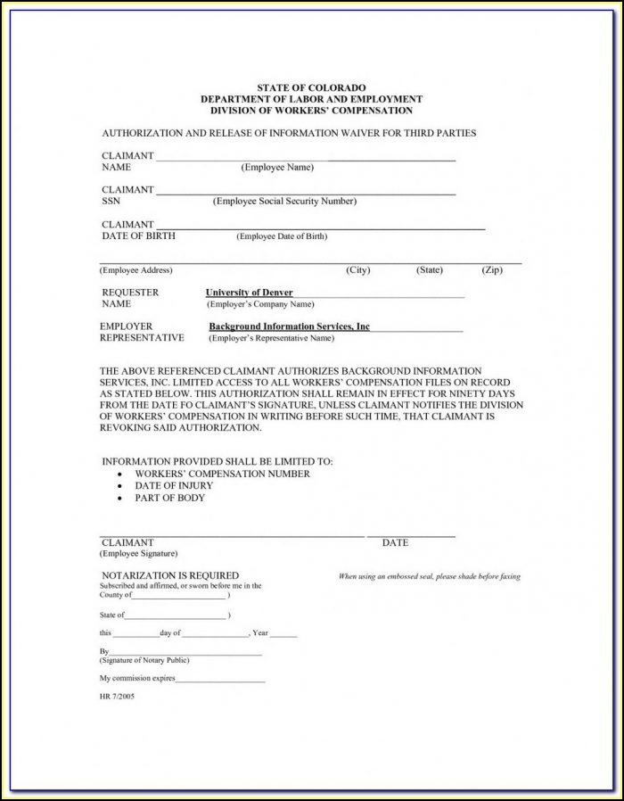 Workmans Comp Waiver Form Indiana