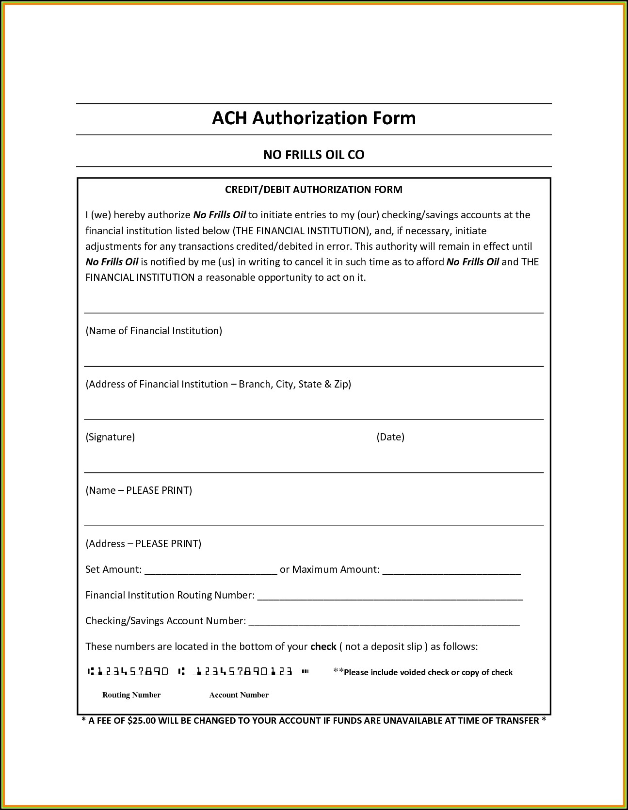 Ach Debit Authorization Agreement Form