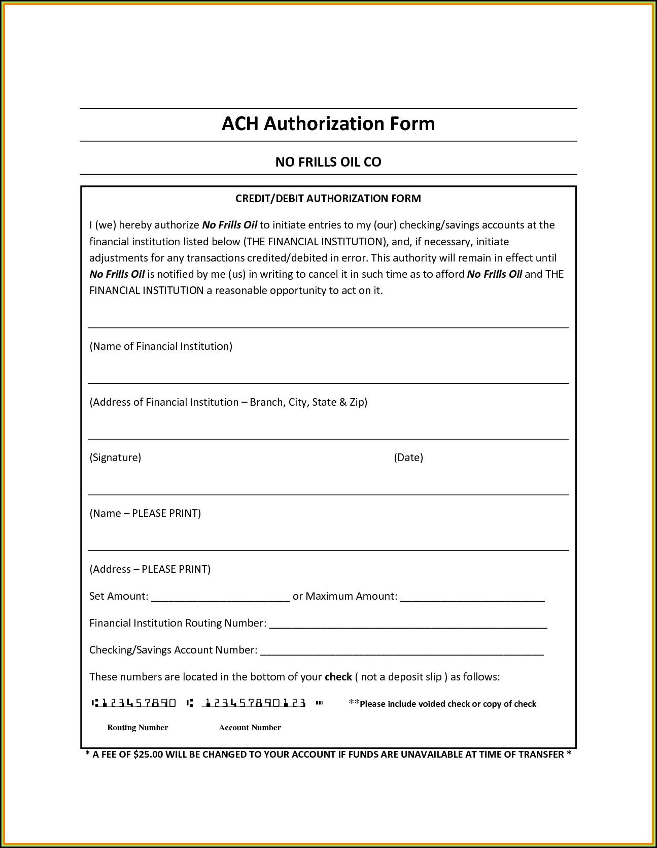 Ach Debit Authorization Agreement Form