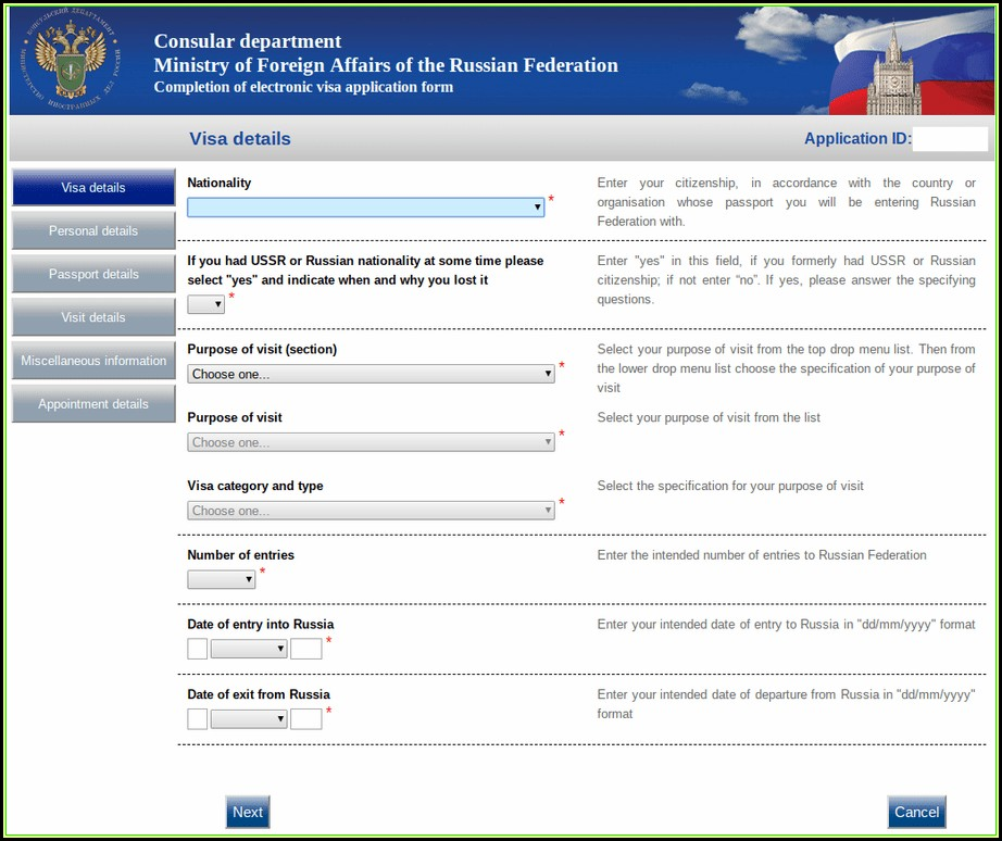 Application Form For Russia Visa