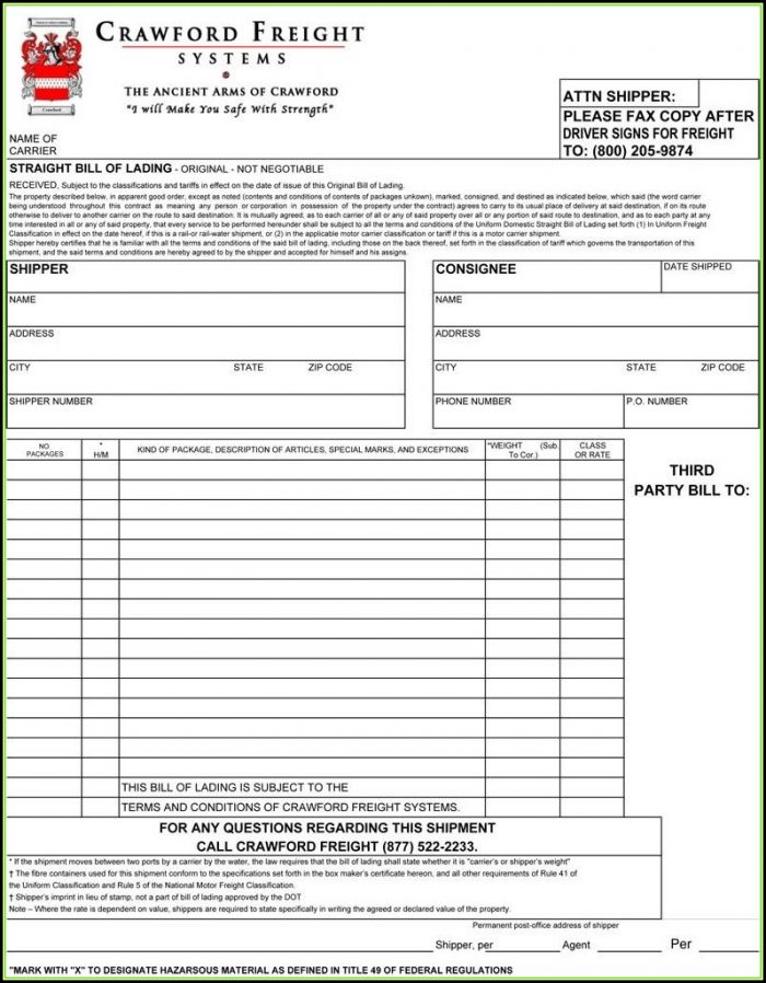 Bill Of Lading Short Form Fillable