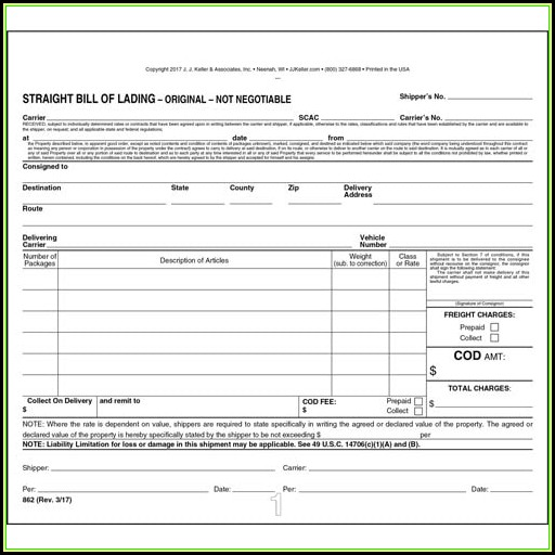 Bill Of Lading Short Form