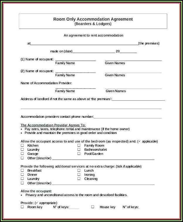 Blank California Rental Agreement Form