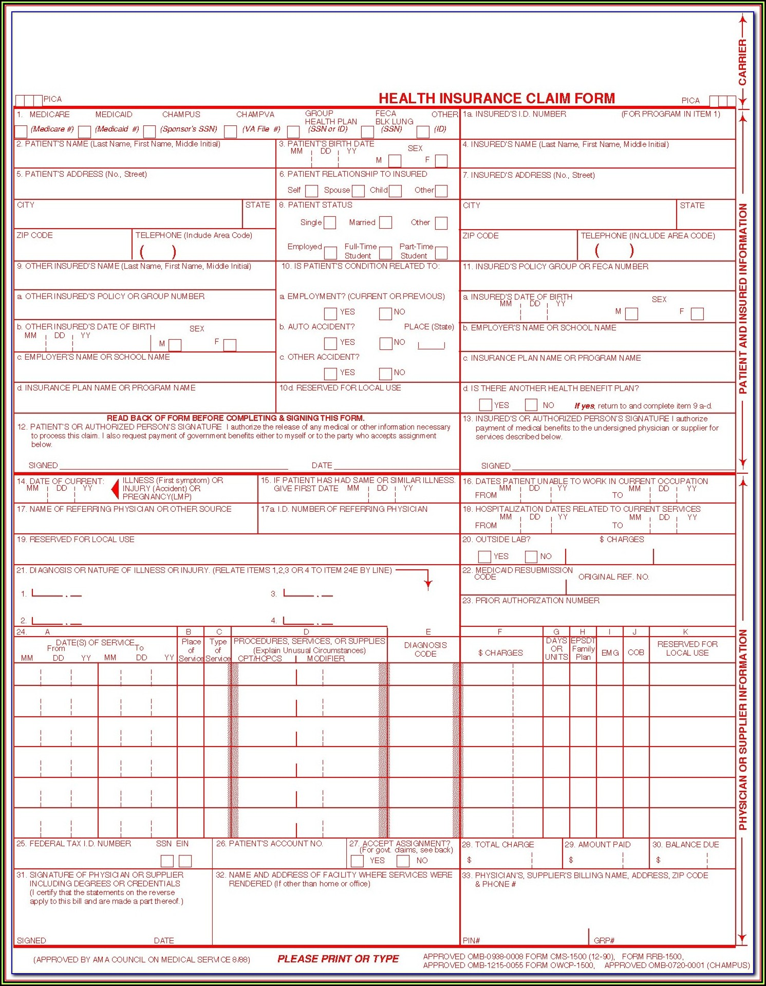 Blank Cms 1500 Form Pdf Download