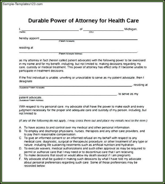 Blank Medical Power Of Attorney Form Florida