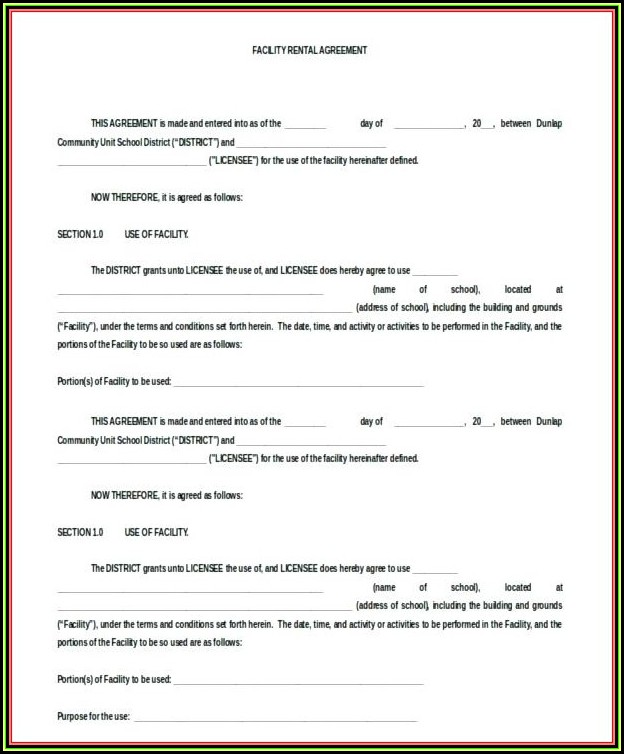 Blank Rental Agreement Form Florida
