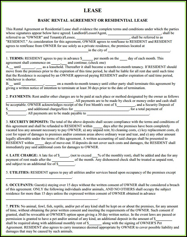Blank Rental Lease Agreement Form Ohio