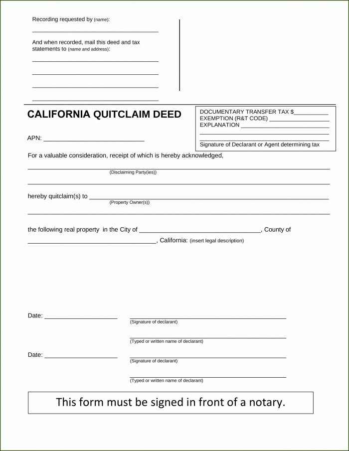 California Quit Claim Deed Form Pdf