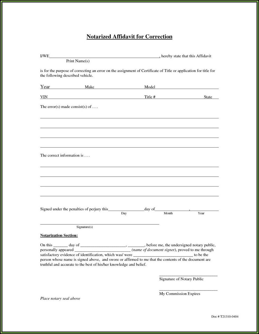 California Small Estate Affidavit Form 13101