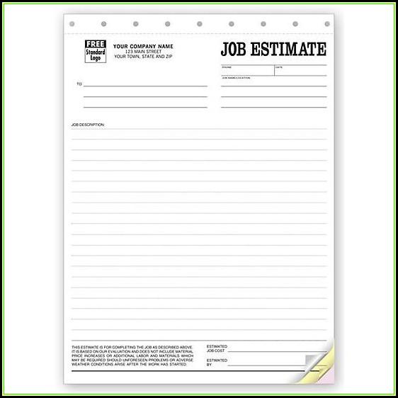 Carbon Copy Estimate Forms