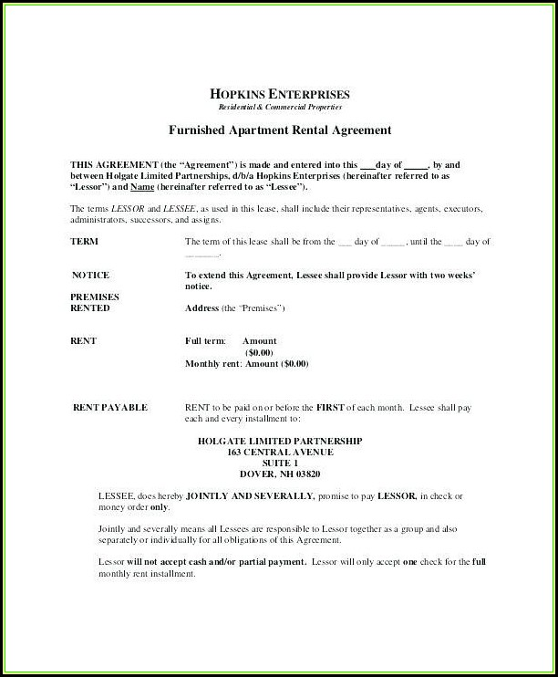 Chicago Renters Lease Form
