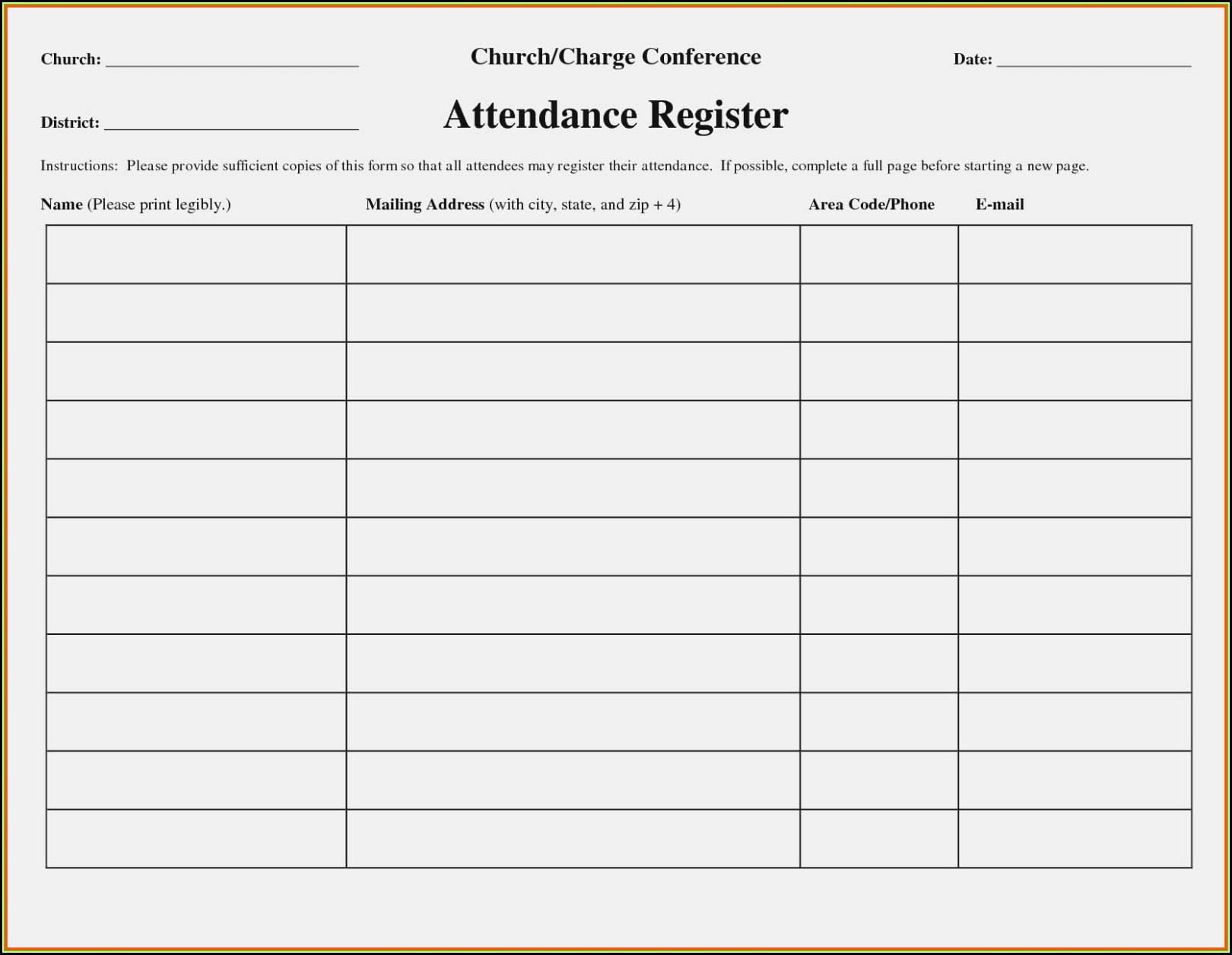 Church Attendance Form Template
