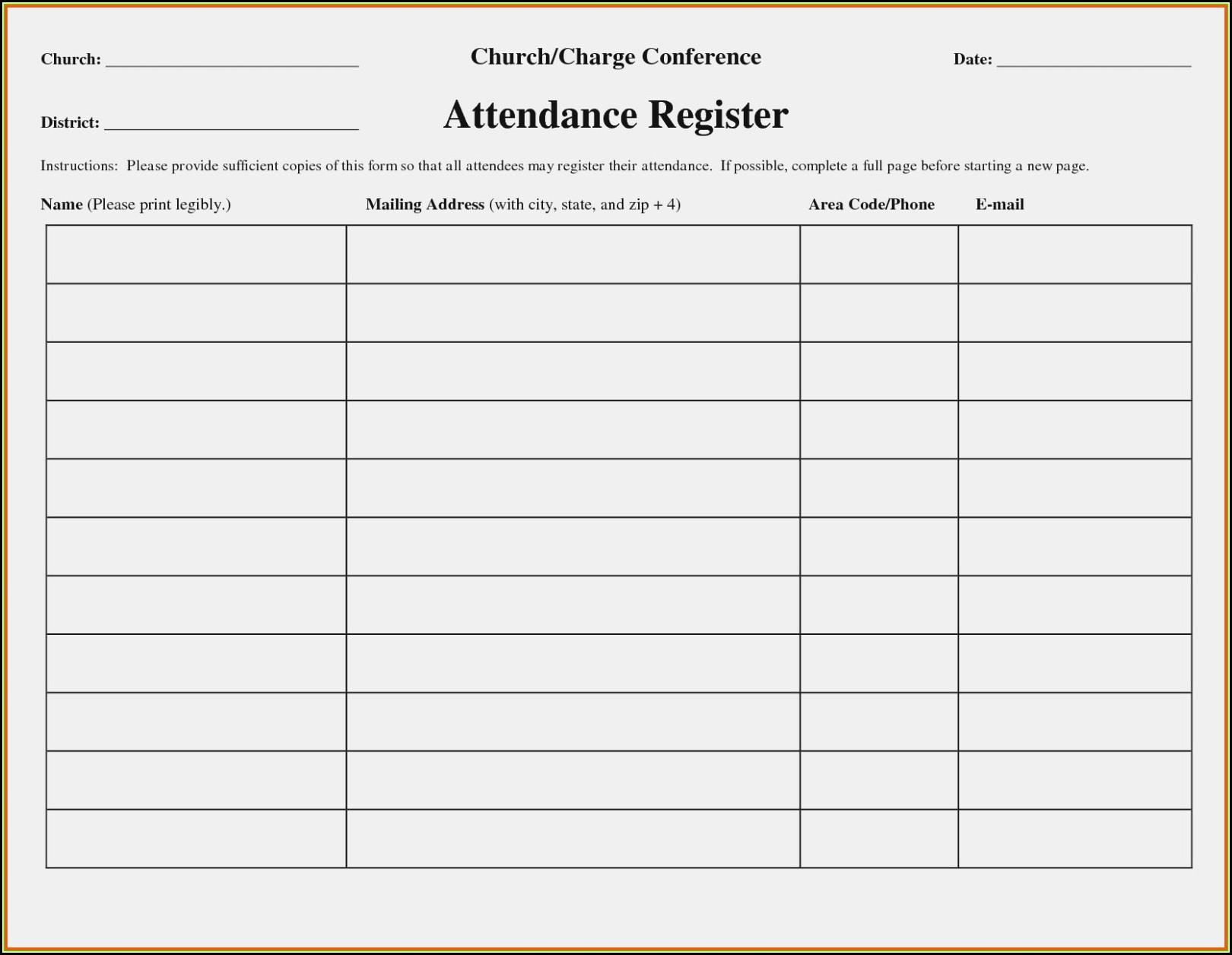 Church Attendance Form Template