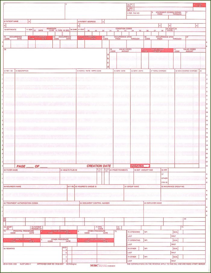 Cms 1450 Claim Form Sample