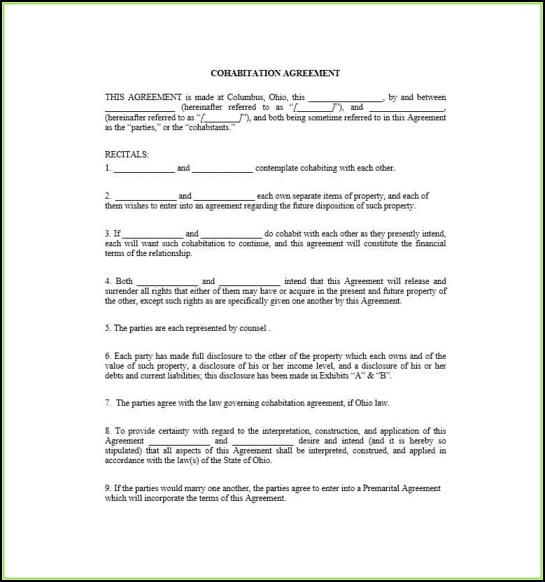 Cohabitation Agreement Form Texas