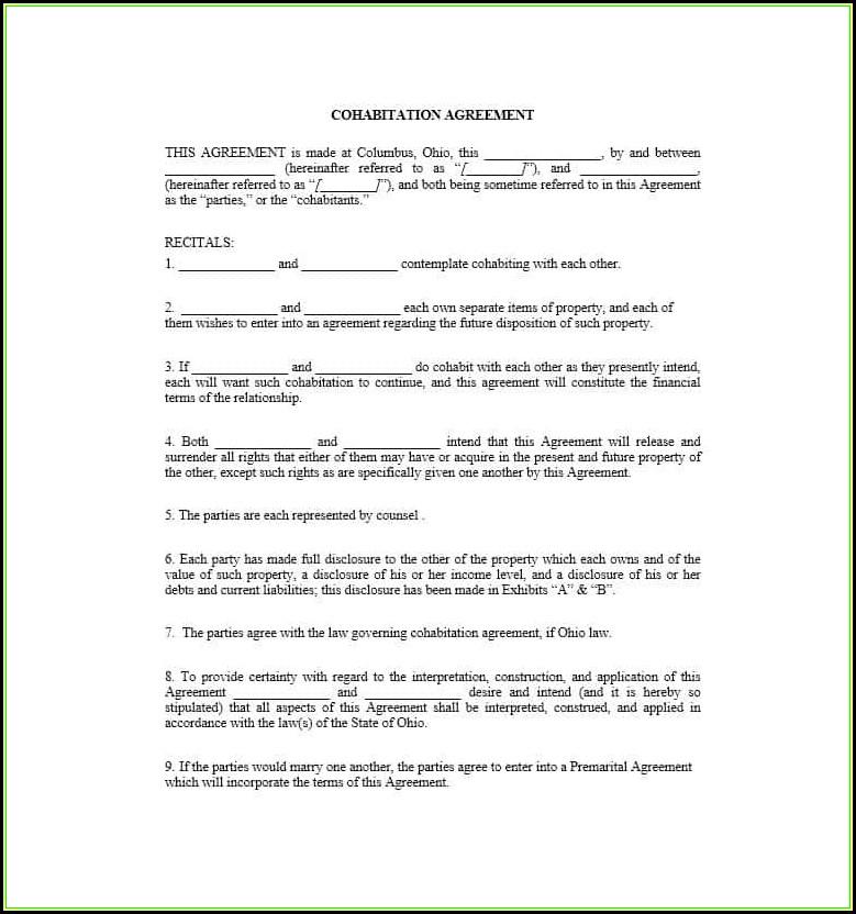 Cohabitation Agreement Form Texas