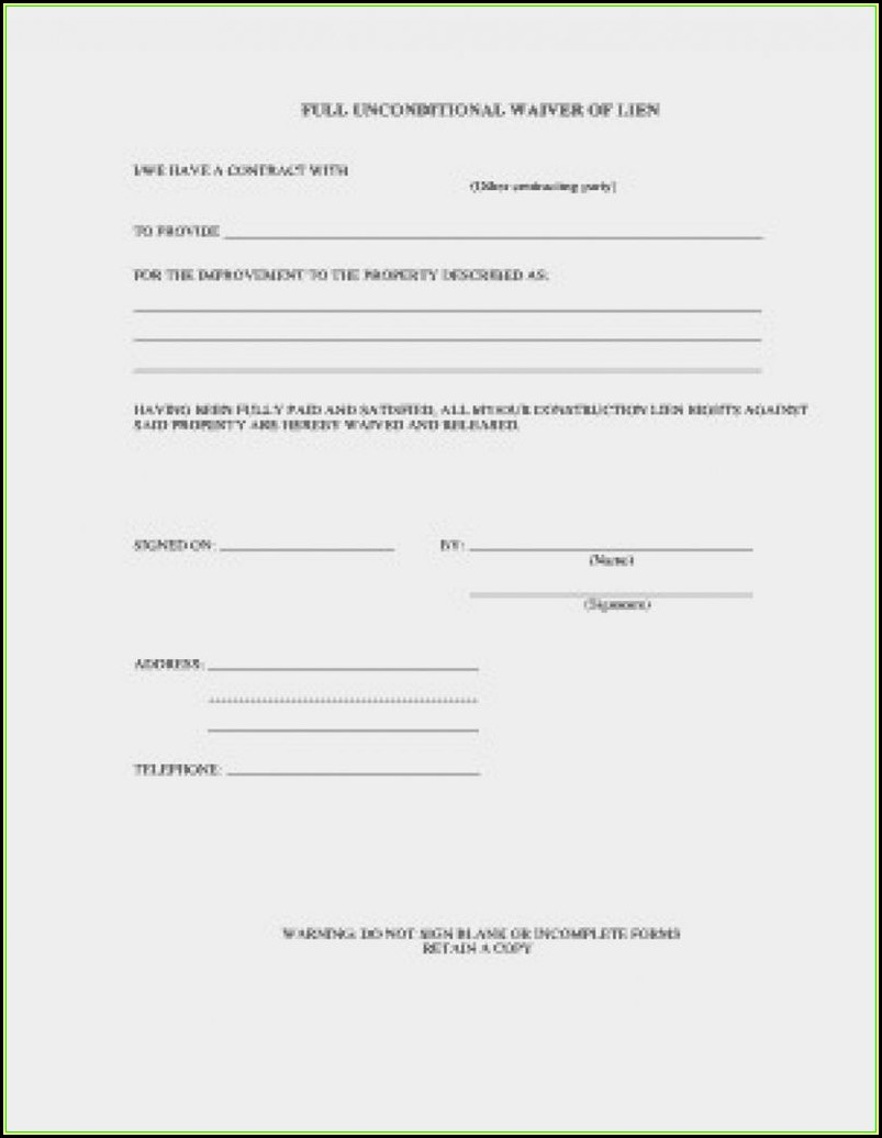 Construction Lien Waiver Form Wisconsin