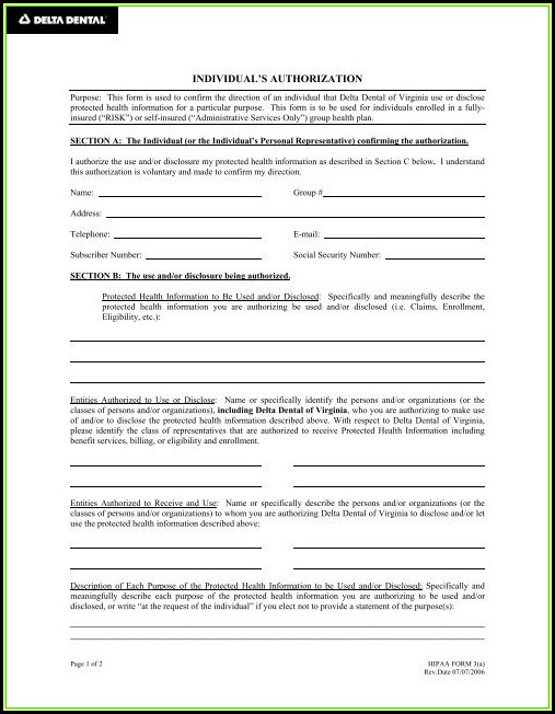 Delta Dental Hipaa Form