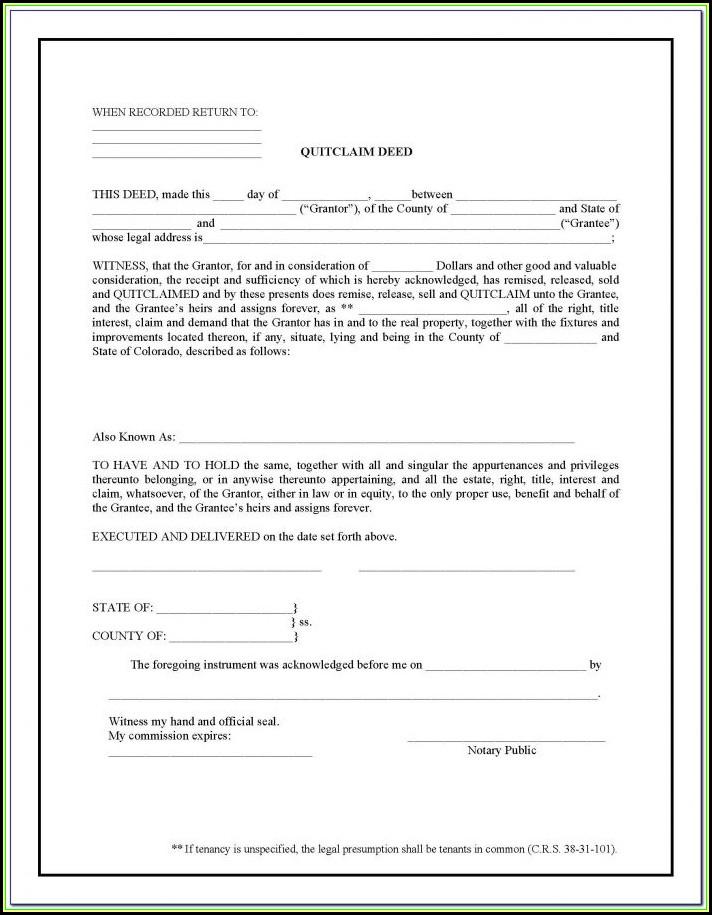 Douglas County Colorado Quit Claim Deed Form