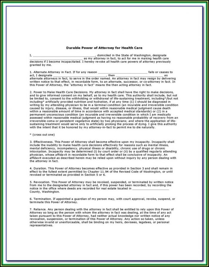 Durable Power Of Attorney For Health Care Washington State Form