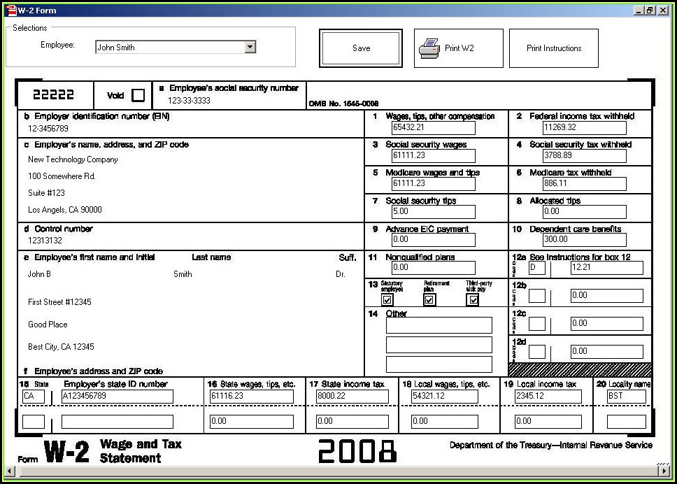 Employee W2 Form Sample