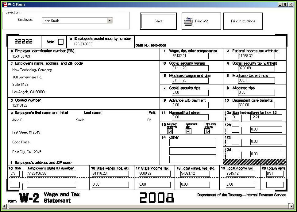 Employee W2 Form Sample