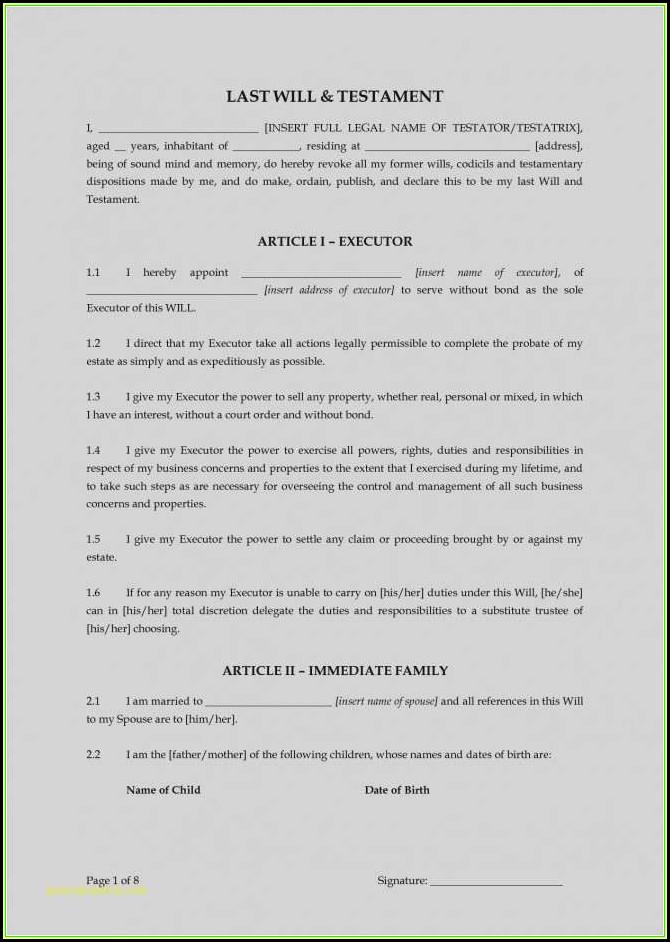 Executor Of Estate Form Pdf