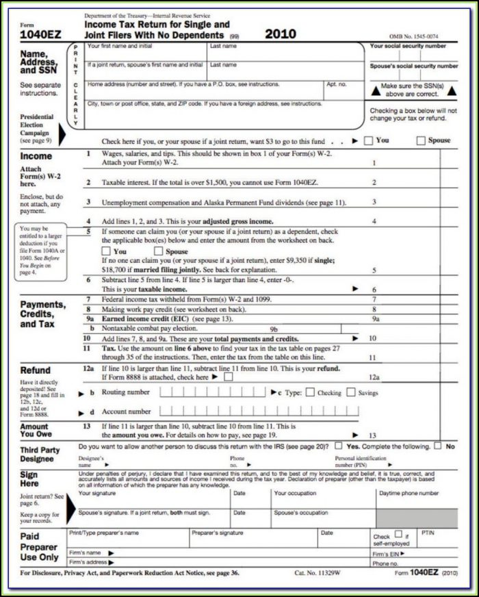 Ez Tax Form Printable