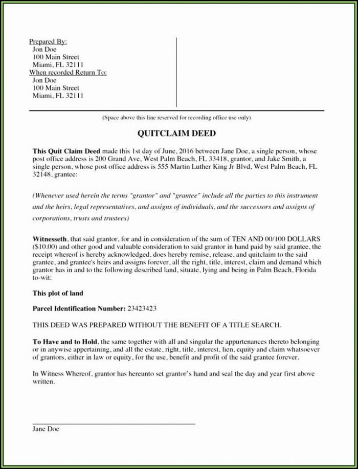 Florida Quit Claim Deed Form Palm Beach County
