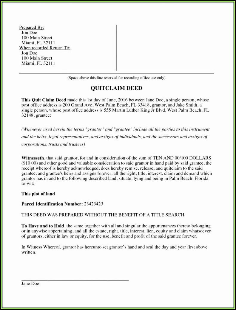 Florida Quit Claim Deed Form Palm Beach County