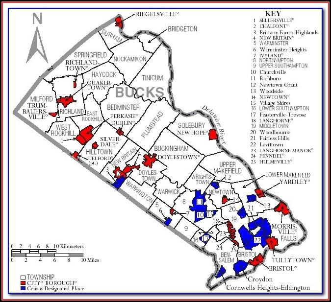 1850 Map Of Bucks County Pa