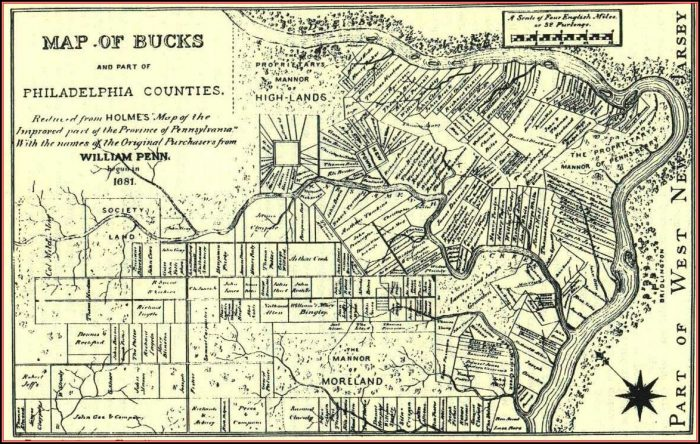 1876 Map Of Bucks County Pa