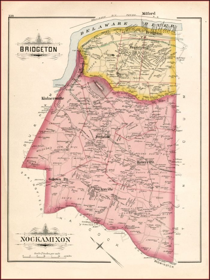 1891 Map Of Bucks County Pa
