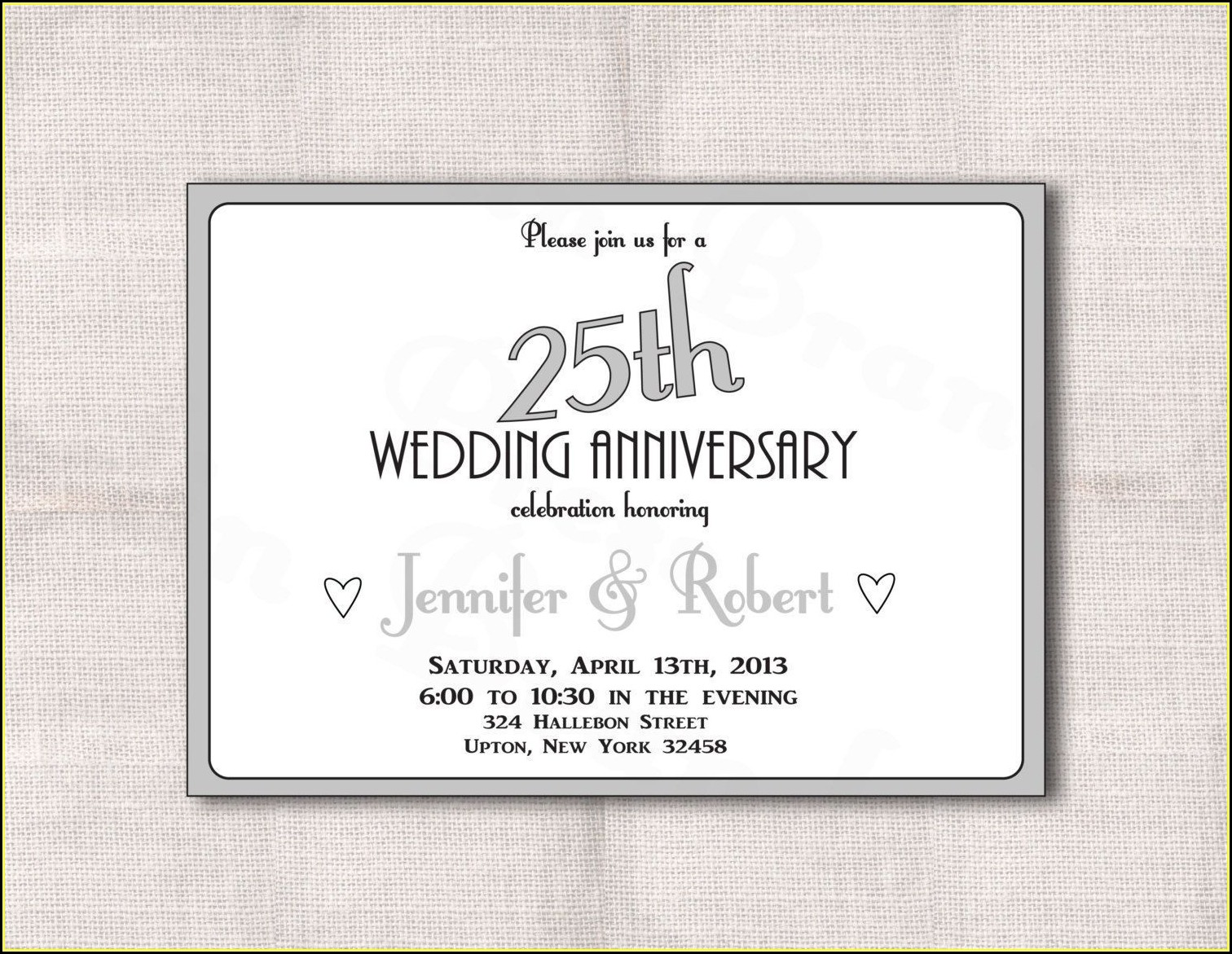 25th Anniversary Invitations Templates